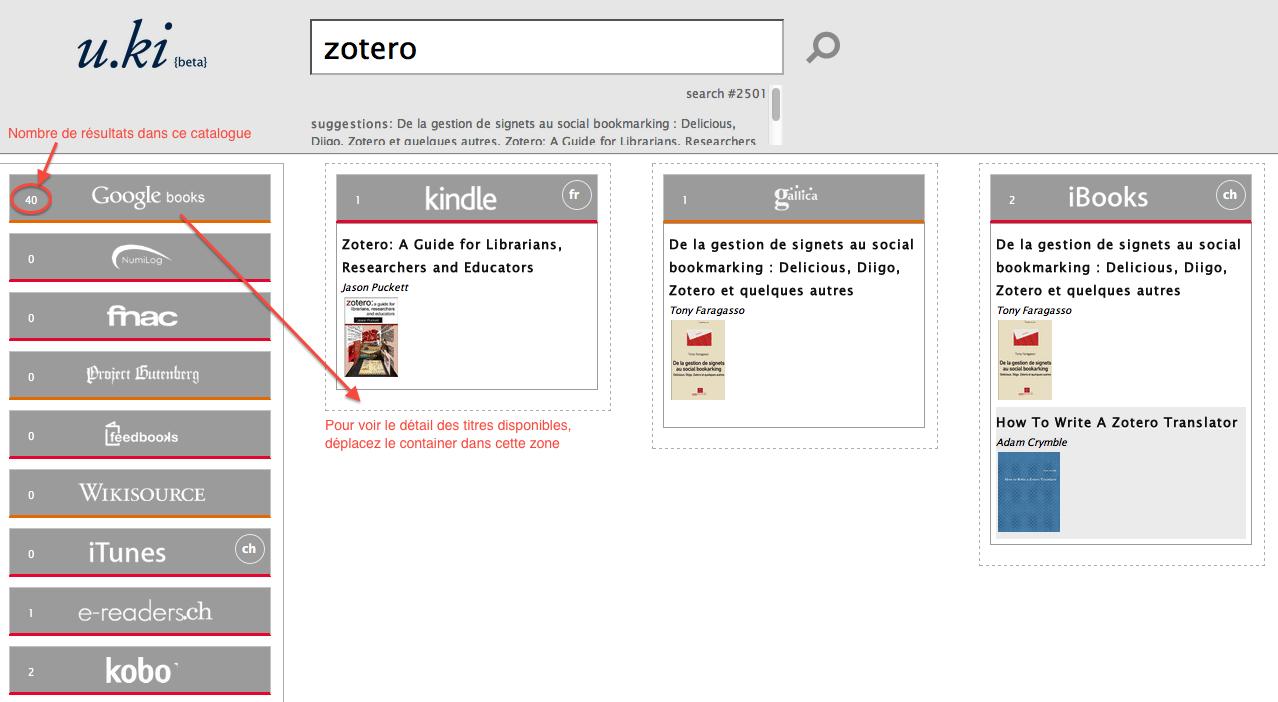 Interface de recherche u.ki avec exemple relatif à Zotero