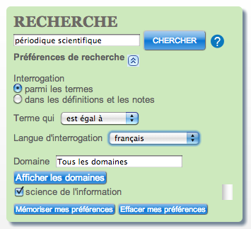 Interface de recherche
