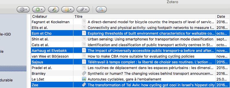 Sélection de références dans la bibliothèque Zotero
